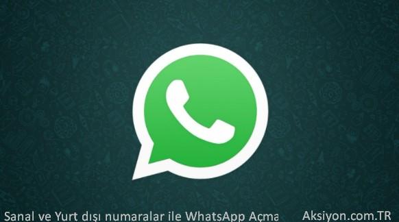 Sanal ve Yurt dışı numaralar ile WhatsApp Açma